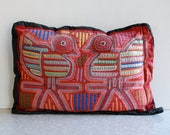 mola pillow, made by kuna indians of panama, birds & flowers, bright red, handmade folk art, central american, vintage throw pillow, artisan