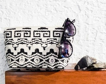 Boho Pouch, Cosmetic Bag, Pencil Pouch, Zipper Pouch, Fabric Pouch, Pouch, Gift for Her, Gift Under 20, Boho Motifs in Black and Ivory