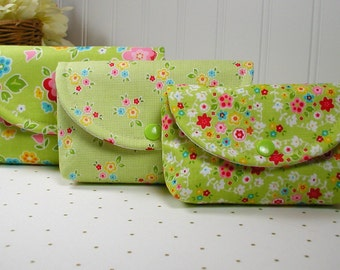 3 Piece Snap Pouch Set (Large, Medium, Small) ...Bloom and Bliss Green