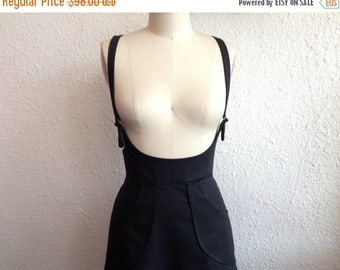 SALE Black denim suspender skirt Sz 12
