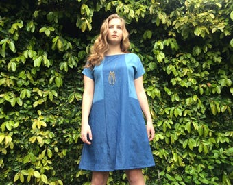 Lara denim pocket shift dress- XS
