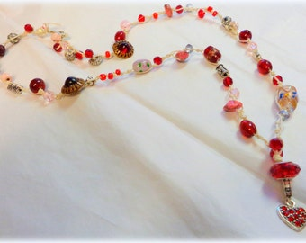 Red Beaded Bohemian Necklace