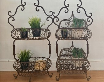vintage garden french wrought  iron plant stand pair set of 1