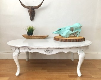 Vintage Coastal Living Rustic Shabby Chic Hand Painted And Distressed Wood Coffee Table