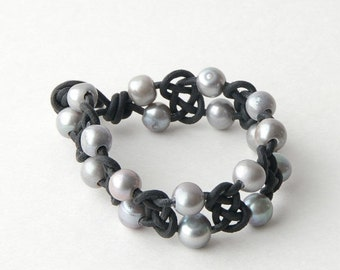 Celtic Knot Leather Bracelet. Freshwater Pearls, Silver, Black, Cuff