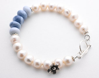 Natural Blue Opal Bracelet. Denim Blue Opal, White Freshwater Pearls and Sterling Silver Bracelet. Gifts for her On Sale. Denim Blue Opal