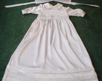 3-6 Month Satin Christening Dress with Matching Cap