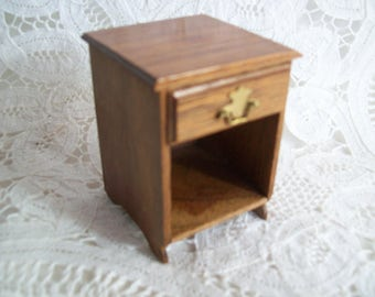 Miniature, hand made, one inch scale, Walnut Night Stand made by Jon Hinrichsen in 1977