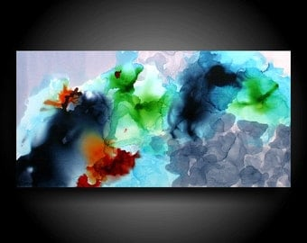 Large Colorful Abstract Painting Alcohol Ink Original Painting Modern Canvas Wall Art 30 x 15 Zen Painting Gray Navy Red Art