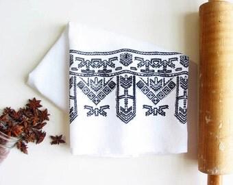 Black Print Tea Towel Cotton Flour Sack Towel Boho Tribal Kitchen Decor Rustic Housewarming Gifts under 10 Dollars Nashville Tennessee