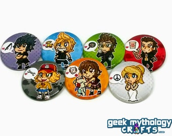 Final Fantasy XV 15 - Favorite Things Pixel Sprite Pin Button Badges