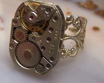 Jeweled Watch Movement ring with Filligree in silver tone adjustable ring - steampunk  ruby jewels soviet union vintage watch parts gears