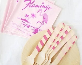Flamingo Beach Party Set for 8 - Forks, Spoons, Napkins, Plates Available