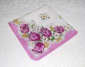 Vintage Handkerchief Hanky Pink Cotton Floral Hankie Magenta Tulips White Dogwoods Shower Favor Bridesmaid Gift Tea Party Quilting Supplies