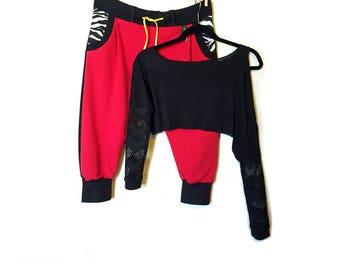 Black Dance Shoulder Crop Top Tunic