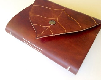 Chocolate Brown Leather Leaf Journal