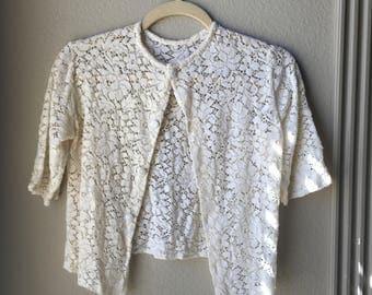 1950's Ecru Lace Cardigan Galeries Lafayette Paris - Crochet See Through Sheer Unlined - XS S Small - Cardi Blouse Cream Beige
