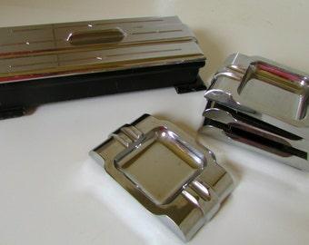Art Deco Ashtray and Cigarette Box Set Table Set Cigarette Case Chrome and Black Vintage 1930s