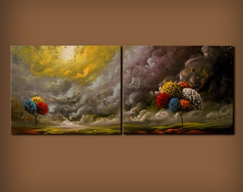 """large lollipop tree painting original painting modern art diptych abstract painting silhouette tree art 40"""" wall decor wall art"""