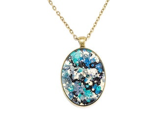 Splatter Painting Pendant - Abstract Art Brass Oval Necklace - Black Galaxy Colorway: Black, Teal, Gold, Plum
