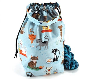 Medium Knitting Crochet Project Bag *with interior yarn guide* - Meow or Never