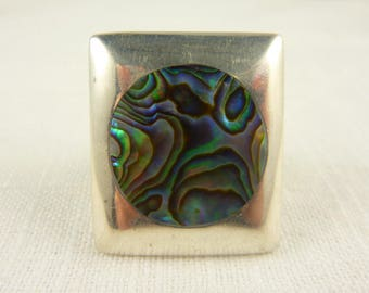 Size 9.25 Vintage Sterling Abalone Shell Square Ring