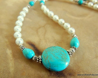 Turquoise and Pearl Necklace, Handcrafted Jewelry, Rustic Wedding, Turquoise Jewelry, Gifts for Her, Statement Necklace, Western Jewelry