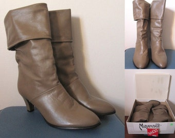 Vintage 80s Deadstock Dark Taupe Brown Leather Slouch Cuff Boots Size 8