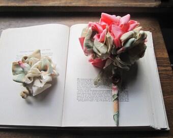 Fabric Bouquets * Vintage Fabric * Flower Poms * Handmade Weddings * Boutonniere * Unique Brides * Alternative * Celebration Bouquets *