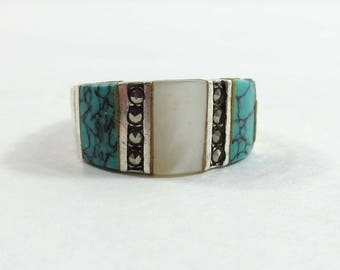 Sterling Silver Ring Turquoise Marcasite MOP Size 7 Inlaid Band 9113