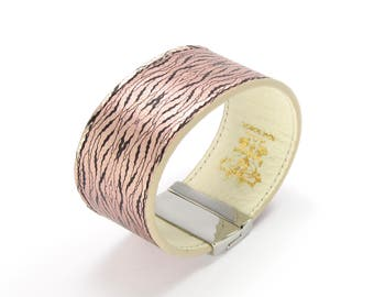 Leather Bracelet also, with contactless payment chip - Rose Gold Oyster