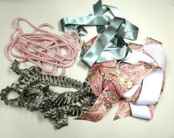 Lot pink green ribbons, trim, cord, pleated silk charmeuse trim, silky cord, pretty ribbons