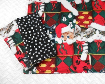 Kids Lunchbox Set, Christmas Cats, Kids Placemat and Napkins, Two Napkins, Kids Holiday Placemat, Montessori School Set, Kids Placemats