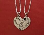 Sterling Silver Grandmother Granddaughter Necklaces SOLID 925 Break share Grandma