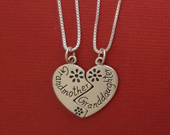 Sterling Silver Grandmother Granddaughter Necklaces SOLID 925 Break share Grandma