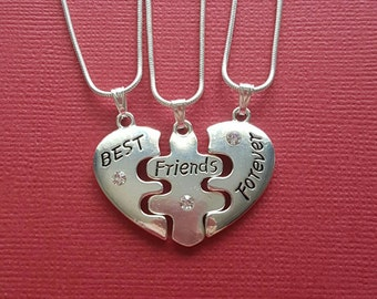 Best Friends Necklaces set of 3 for you and your Besties one Heart to share