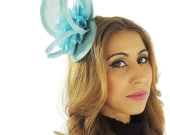 Cape -Turquoise Fascinator Hat for Kentucky Derby, Weddings and Parties with Headband