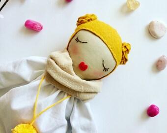 Fabric doll. cloth doll Blond hair, braids, white linen dress, golden pom pom, sleeping doll, cuddly, heirloom doll