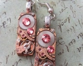 Steampunk - Rose gold  - Steampunk Earrings - Repurposed art