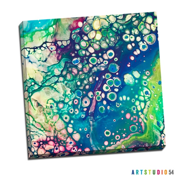 "Liquid Art #8 Abstract Art Canvas - 16""x20"" or 20""x20"" - 1-1/4"" Thick Bar Gallery Wrapped Canvas - Artstudio54 - Liquidart54"