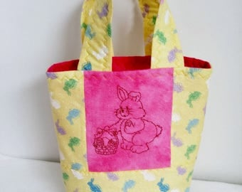 Little Girl's Easter Purse, Quilted Little Girls Purse, Easter Bags,Spring Purse, Machine Embroiderd Bunny, Machine Embroidered Rabbit