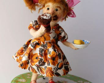Original Needle Felted Art  Doll I like Cake