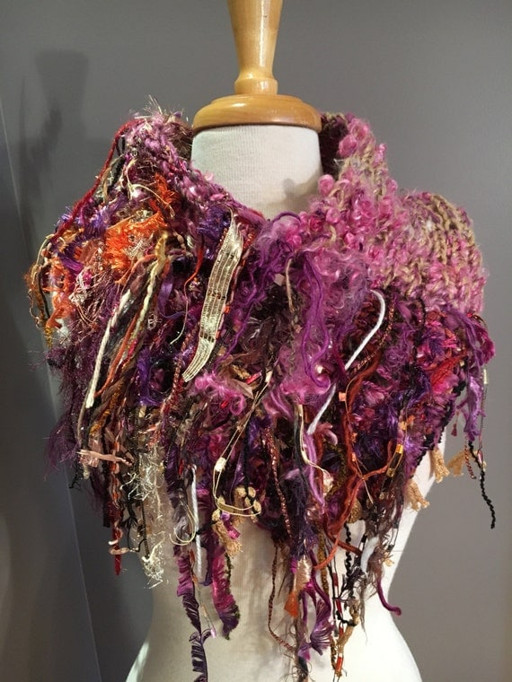 Hand knit Tapered Shag Cowl or mini-pincho, Pink purple cowl, Fringed Design with handspun hand dyed wool sheep curl fibers, funky scarves