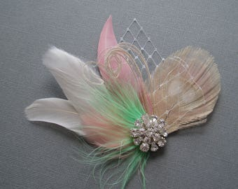 Wedding Hair Accessories Hair Piece hairpiece Mint Ivory Blush Feather Fascinator Bridal Hair Clip brides comb hairpiece bridesmaid