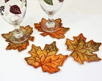 Four Autumn Leaves BATIK Coasters, Quilted Fall Coasters, Orange and Green Thanksgiving Decor, Wedding Table, Machine Embroidered Leaf