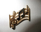 Vintage Avon Convertible Brooch Pin,  Avon Gold and Silver Tone Scatter Pin  Music Staff, Music Note, 3 in one pin Avon Scatter Pin