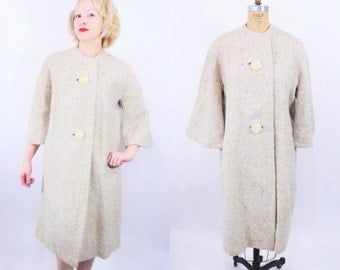 WINTER SALE / 1960s coat vintage 60s yellow tan large button collarless tweed coat M/L