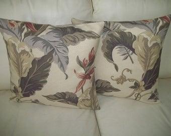 Retro Floral Barkcloth Pillow Cover ~ 16 x 16 Pillow Cover ~ Set of 2 Vintage Floral Pillow Covers