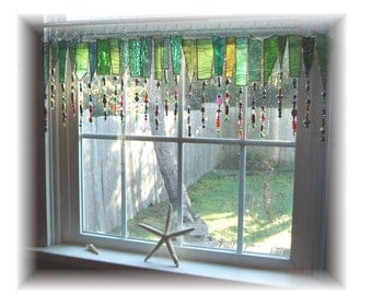 Green FRINGE ELEMENT Number One   Stained Glass Window Treatment Valance Curtain