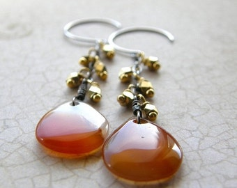 20% OFF Red Agate Earrings, Silver and Gold, Red and Orange Drop Earrings, Mixed Metal Dangle Earrings, Fringe Earrings